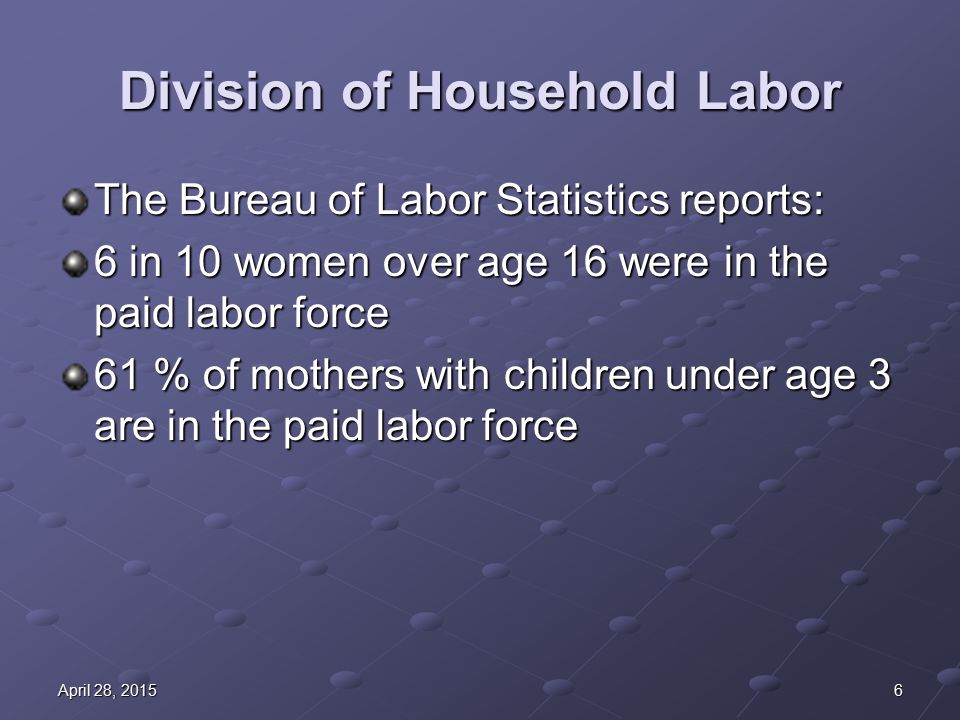 6April 28, 2015April 28, 2015April 28, 2015 Division of Household Labor The Bureau of Labor Statistics reports: 6 in 10 women over age 16 were in the paid labor force 61 % of mothers with children under age 3 are in the paid labor force