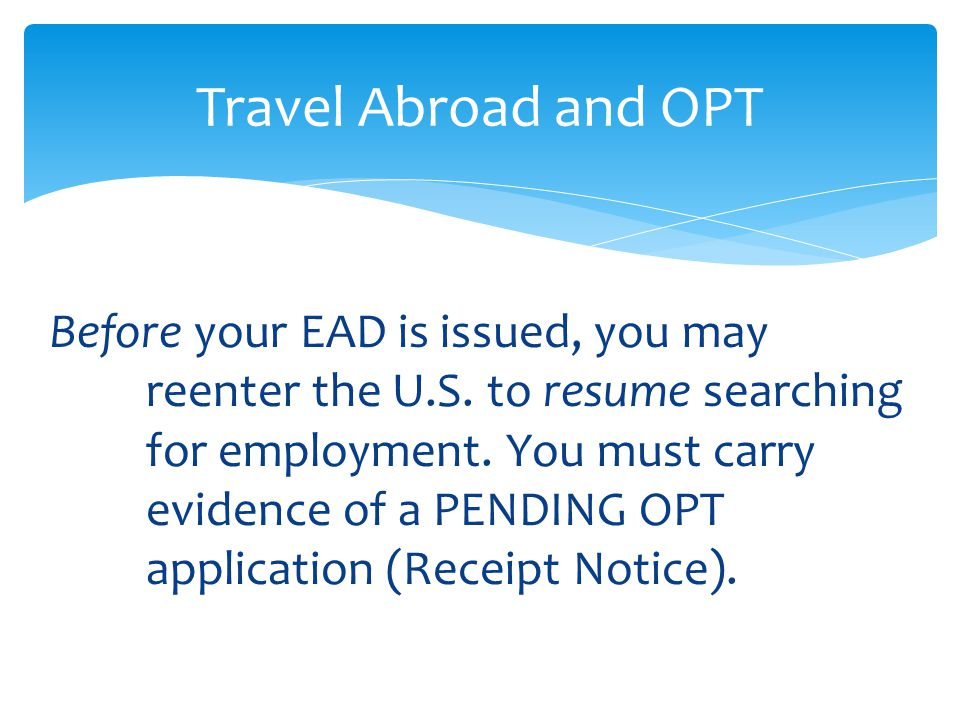Before your EAD is issued, you may reenter the U.S. to resume searching for employment. You must carry evidence of a PENDING OPT application (Receipt