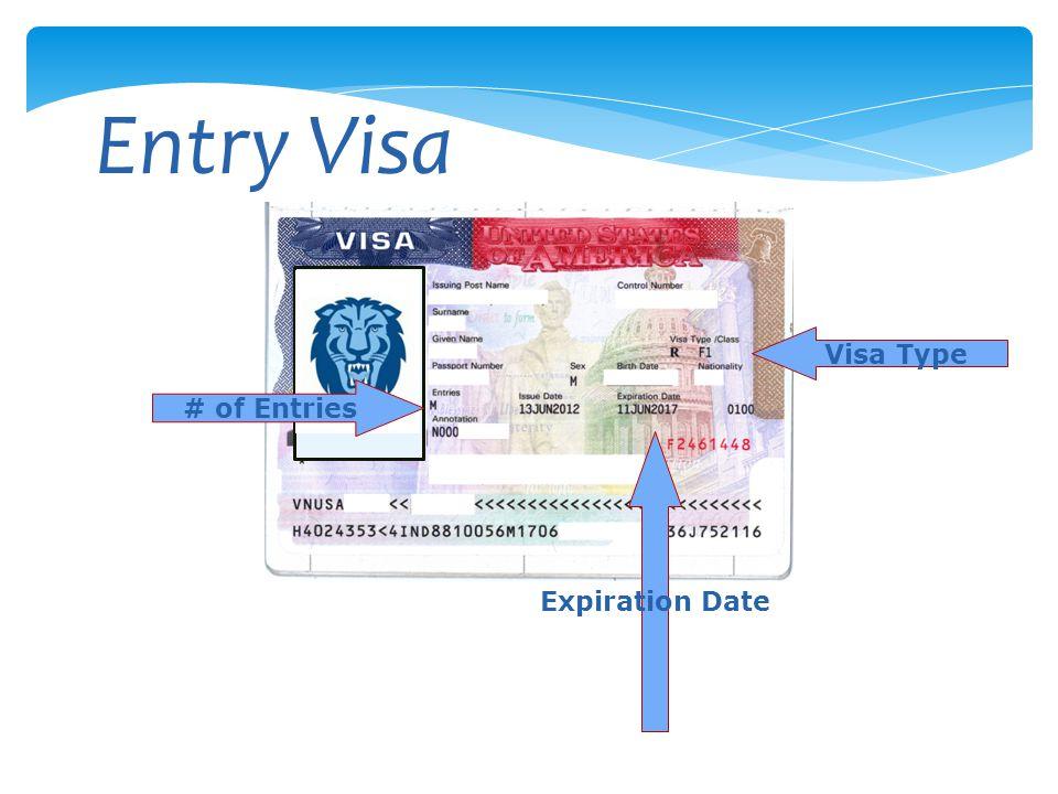 Entry Visa Expiration Date Visa Type # of Entries