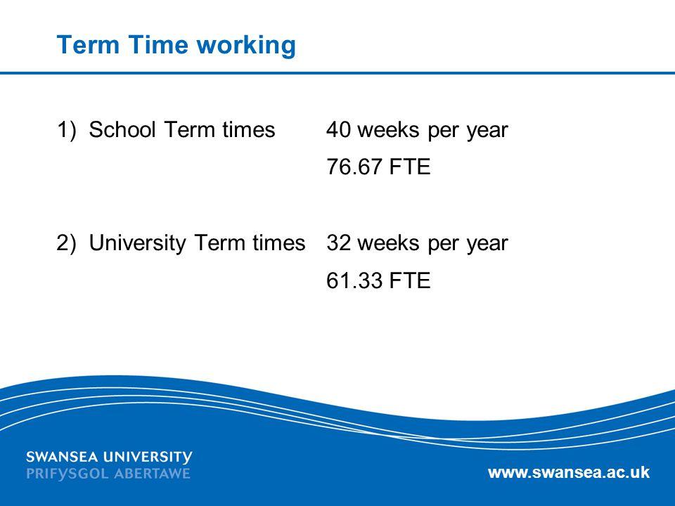 www.swansea.ac.uk Term Time working 1) School Term times 40 weeks per year 76.67 FTE 2) University Term times32 weeks per year 61.33 FTE