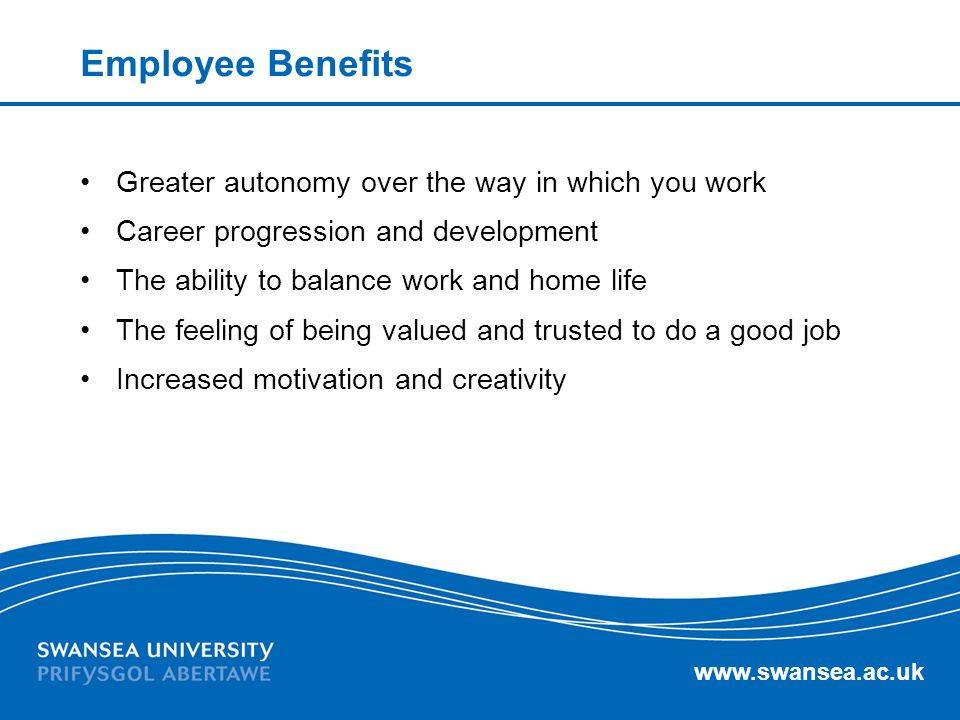 www.swansea.ac.uk Employee Benefits Greater autonomy over the way in which you work Career progression and development The ability to balance work and