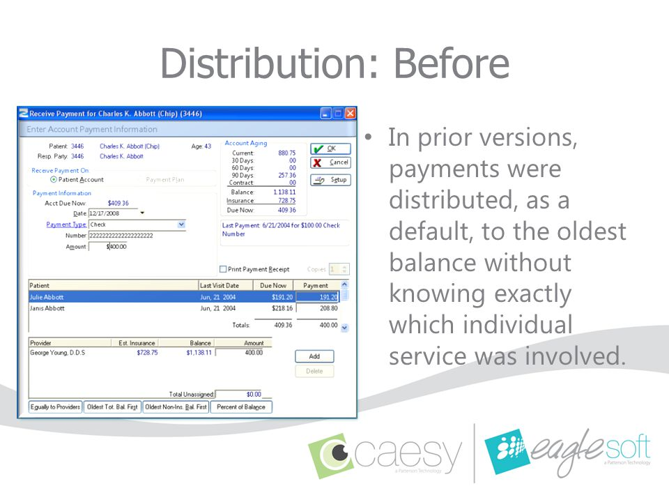 Distribution: Before In prior versions, payments were distributed, as a default, to the oldest balance without knowing exactly which individual servic