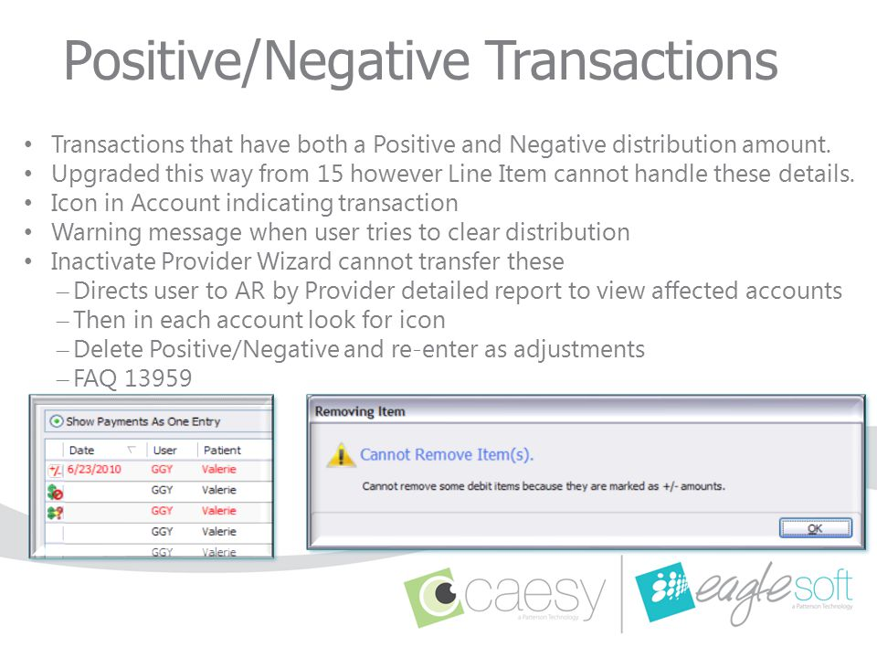 Positive/Negative Transactions Transactions that have both a Positive and Negative distribution amount. Upgraded this way from 15 however Line Item ca