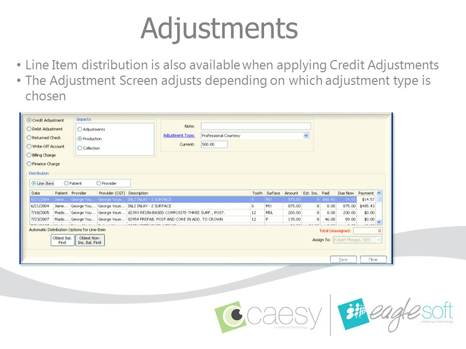 Adjustments Line Item distribution is also available when applying Credit Adjustments The Adjustment Screen adjusts depending on which adjustment type