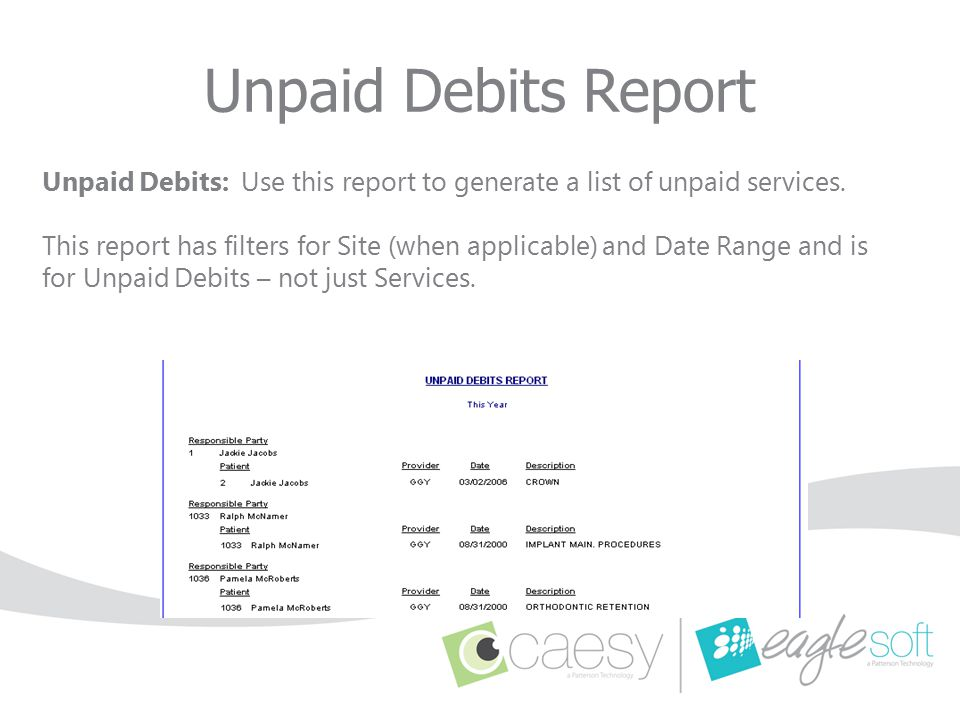Unpaid Debits: Use this report to generate a list of unpaid services. This report has filters for Site (when applicable) and Date Range and is for Unp
