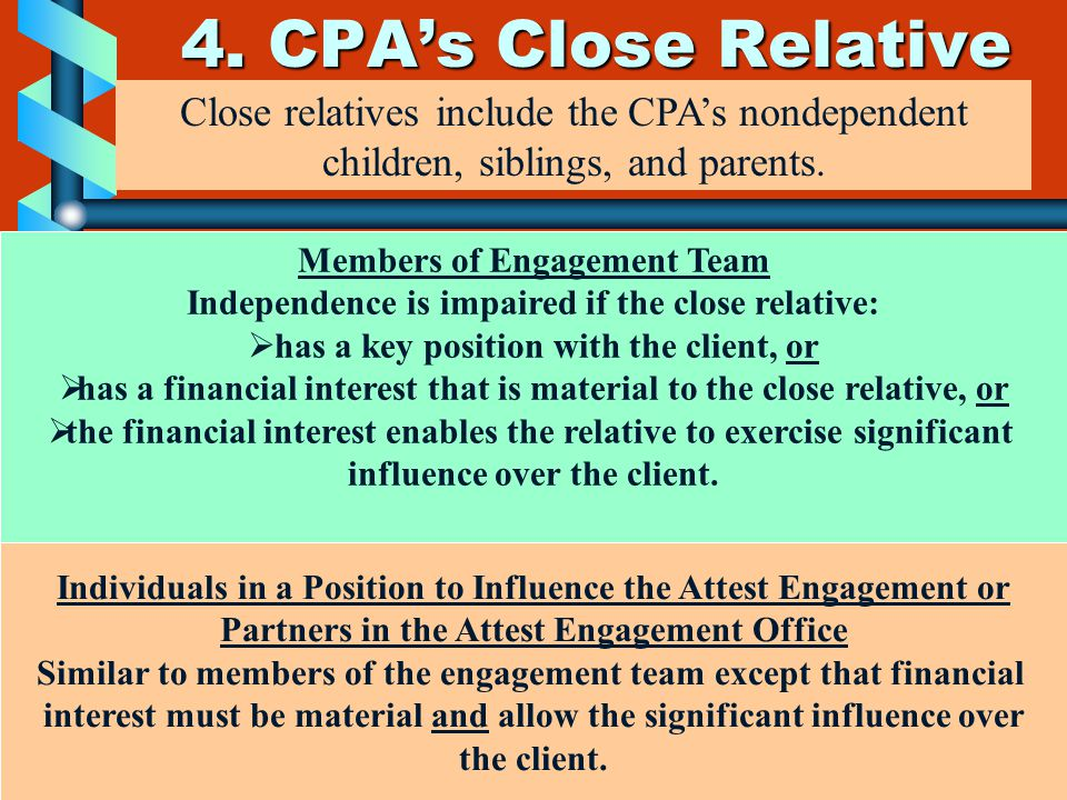 4. CPA's Close Relative Close relatives include the CPA's nondependent children, siblings, and parents. Members of Engagement Team Independence is imp