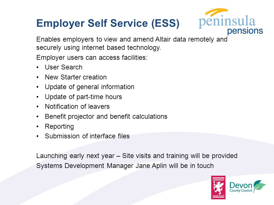 Enables employers to view and amend Altair data remotely and securely using internet based technology.