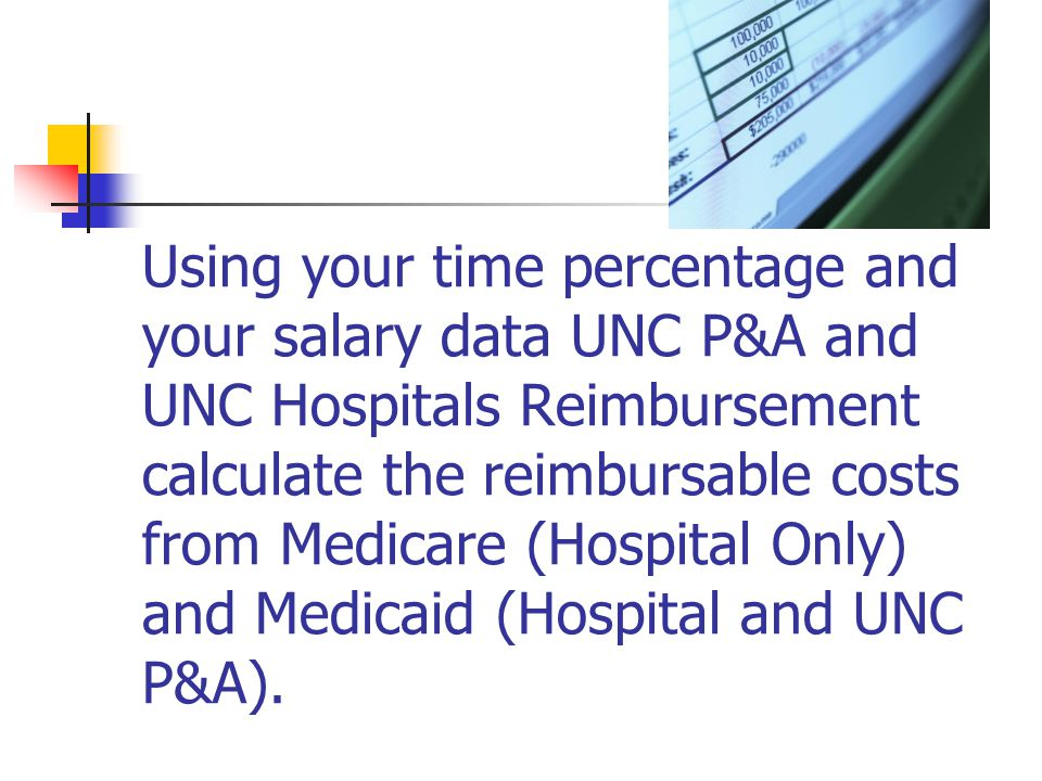 Using your time percentage and your salary data UNC P&A and UNC Hospitals Reimbursement calculate the reimbursable costs from Medicare (Hospital Only) and Medicaid (Hospital and UNC P&A).