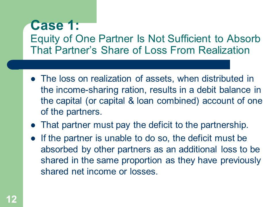 12 Case 1: Equity of One Partner Is Not Sufficient to Absorb That Partner's Share of Loss From Realization The loss on realization of assets, when distributed in the income-sharing ration, results in a debit balance in the capital (or capital & loan combined) account of one of the partners.