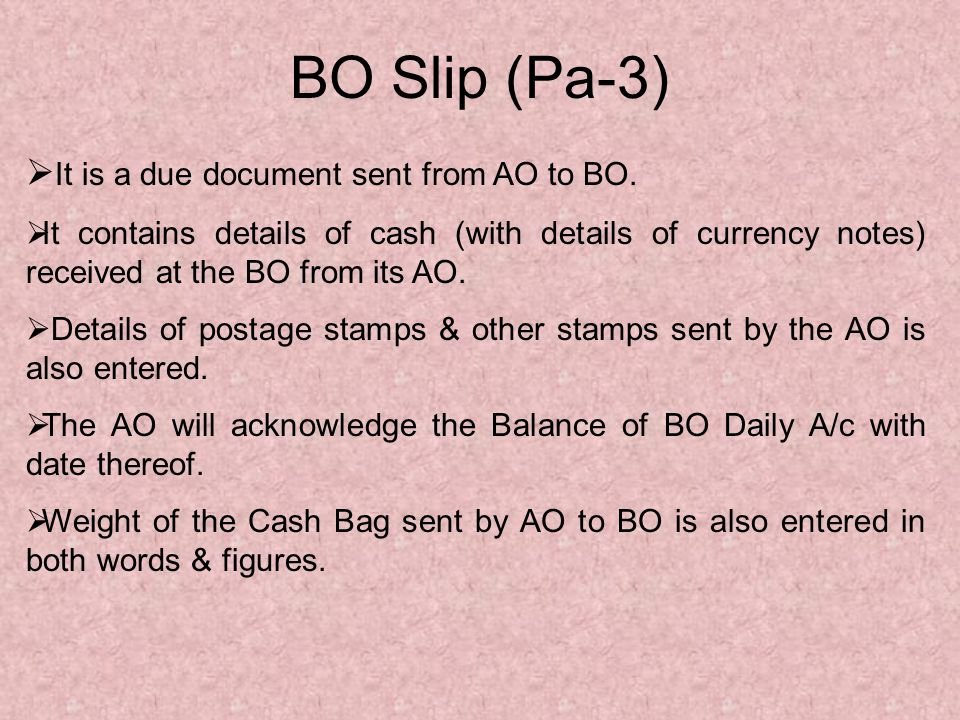 Under Receipts the following items are taken: - (a) Cash received from the AO (including postage & other stamps), (b) Cash collected by MO s issued, (c) Cash collected by IPO s Sold, (d) UCR s, (e) SB Deposits, (SB,RD,TD) (f) RPLI Premia Collected, etc.,
