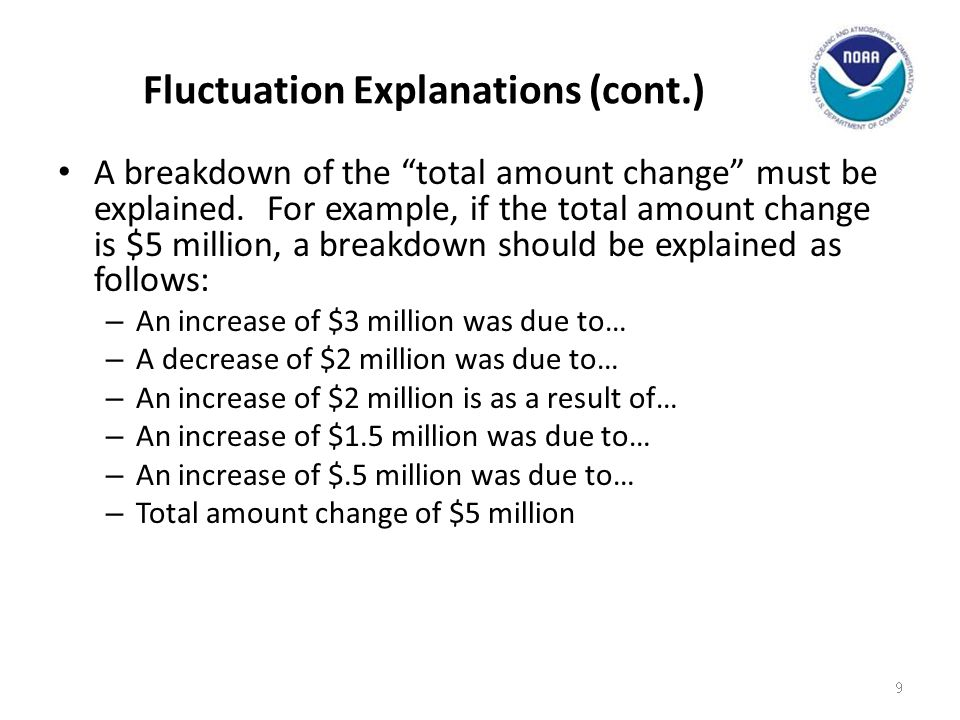 Example – Outlay Fluctuation Outlay fluctuation on the SBR: For FYx7 Qtr 2, NOAA had a decrease of ($287,198) million in outlays, when compared to FYx6 Qtr 2.