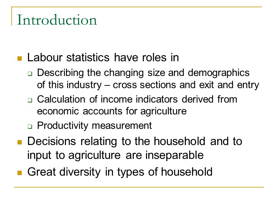 Introduction Labour statistics have roles in  Describing the changing size and demographics of this industry – cross sections and exit and entry  Calculation of income indicators derived from economic accounts for agriculture  Productivity measurement Decisions relating to the household and to input to agriculture are inseparable Great diversity in types of household