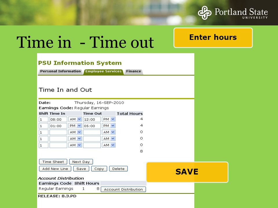 Time in - Time out Enter hours SAVE