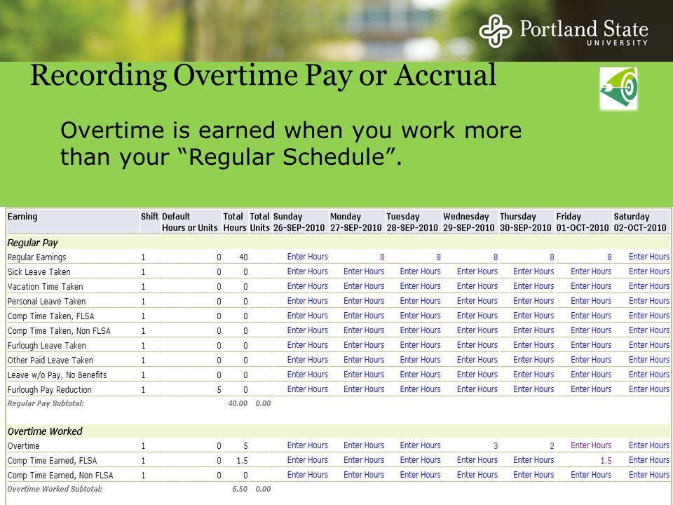 Recording Overtime Pay or Accrual Overtime is earned when you work more than your Regular Schedule .