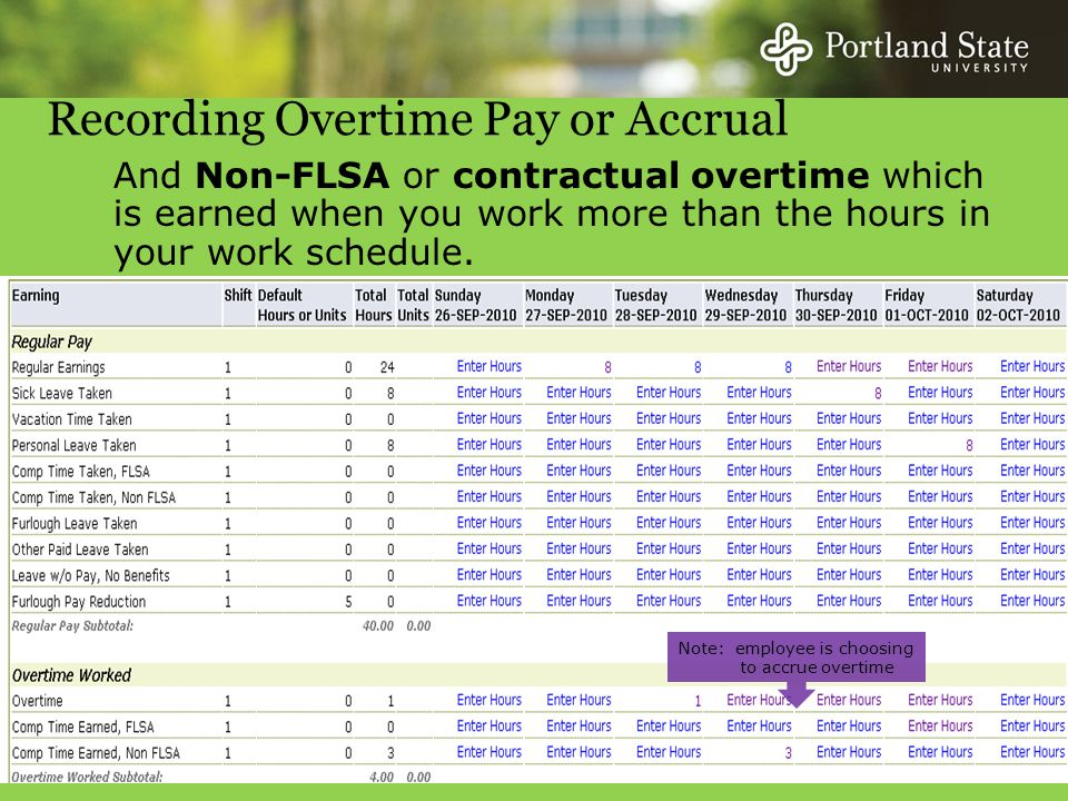 And Non-FLSA or contractual overtime which is earned when you work more than the hours in your work schedule.