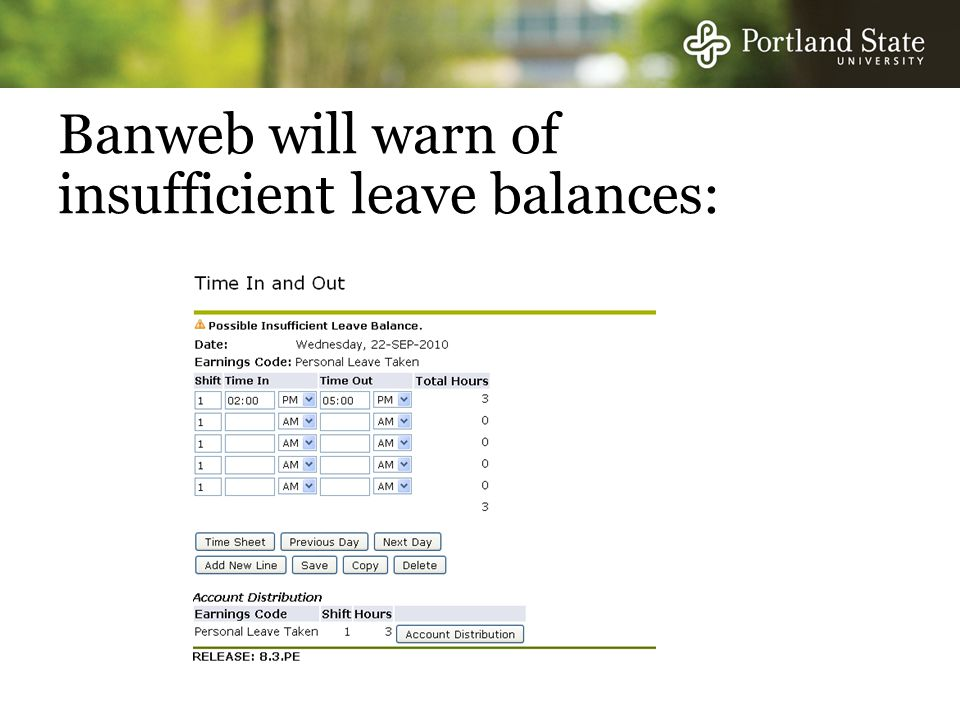 Banweb will warn of insufficient leave balances: