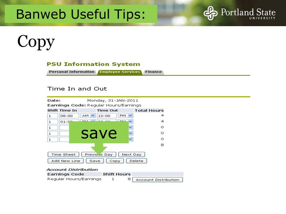 Copy save Banweb Useful Tips:
