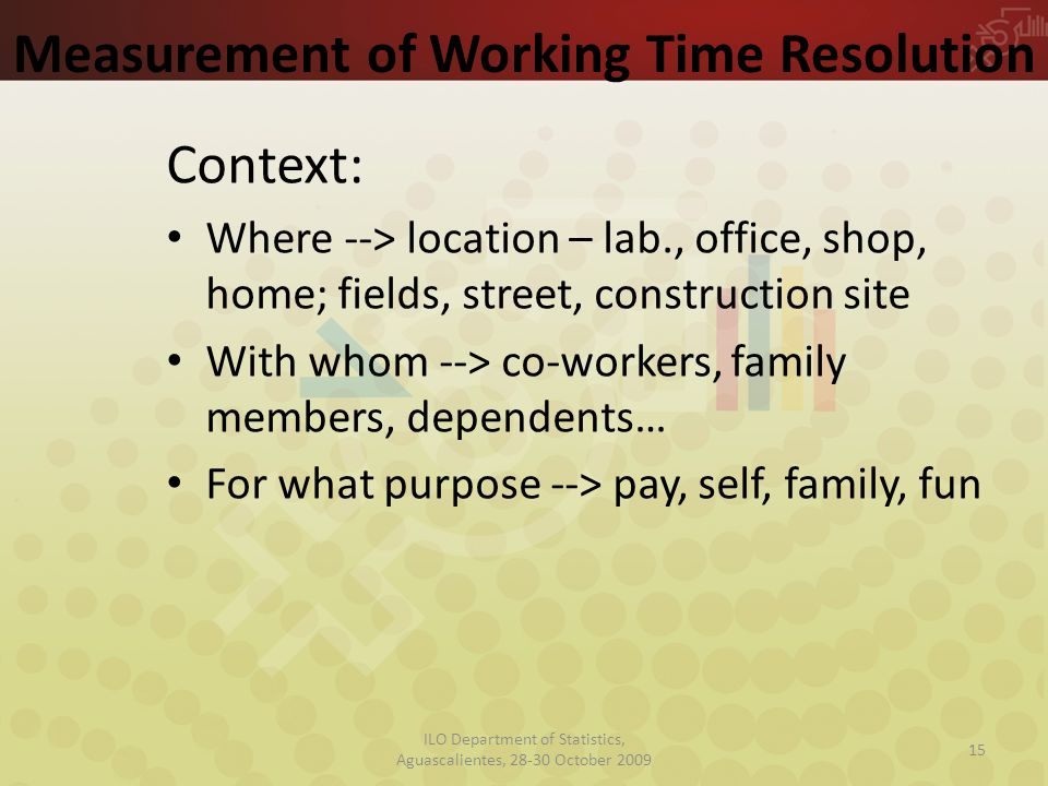 Measurement of Working Time Resolution Context: Where --> location – lab., office, shop, home; fields, street, construction site With whom --> co-workers, family members, dependents… For what purpose --> pay, self, family, fun 15 ILO Department of Statistics, Aguascalientes, 28-30 October 2009
