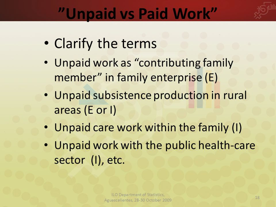 Unpaid vs Paid Work Clarify the terms Unpaid work as contributing family member in family enterprise (E) Unpaid subsistence production in rural areas (E or I) Unpaid care work within the family (I) Unpaid work with the public health-care sector (I), etc.