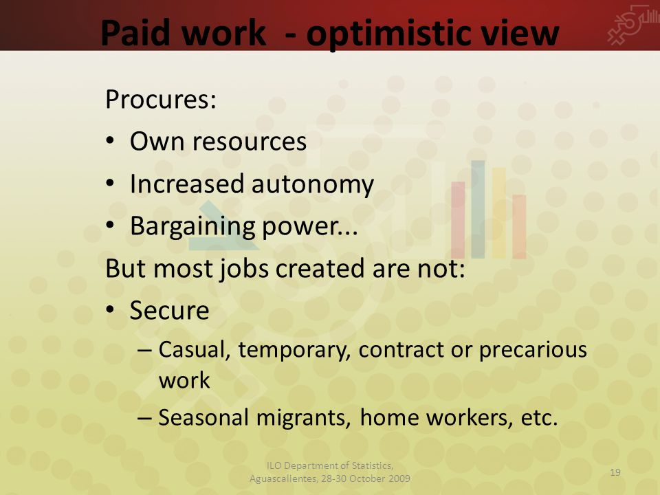 Paid work - optimistic view Procures: Own resources Increased autonomy Bargaining power...