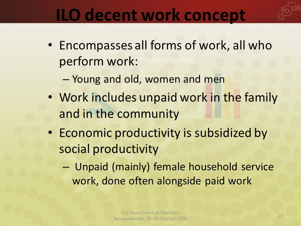 ILO decent work concept Encompasses all forms of work, all who perform work: – Young and old, women and men Work includes unpaid work in the family and in the community Economic productivity is subsidized by social productivity – Unpaid (mainly) female household service work, done often alongside paid work 23 ILO Department of Statistics, Aguascalientes, 28-30 October 2009