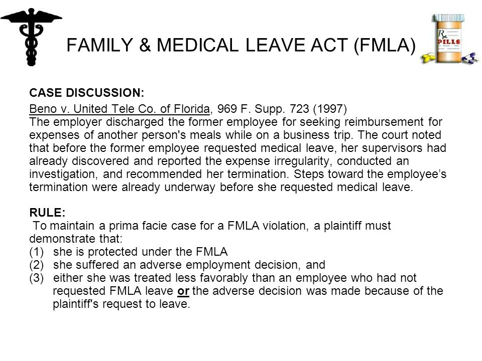 FAMILY & MEDICAL LEAVE ACT (FMLA) CASE DISCUSSION: Beno v.