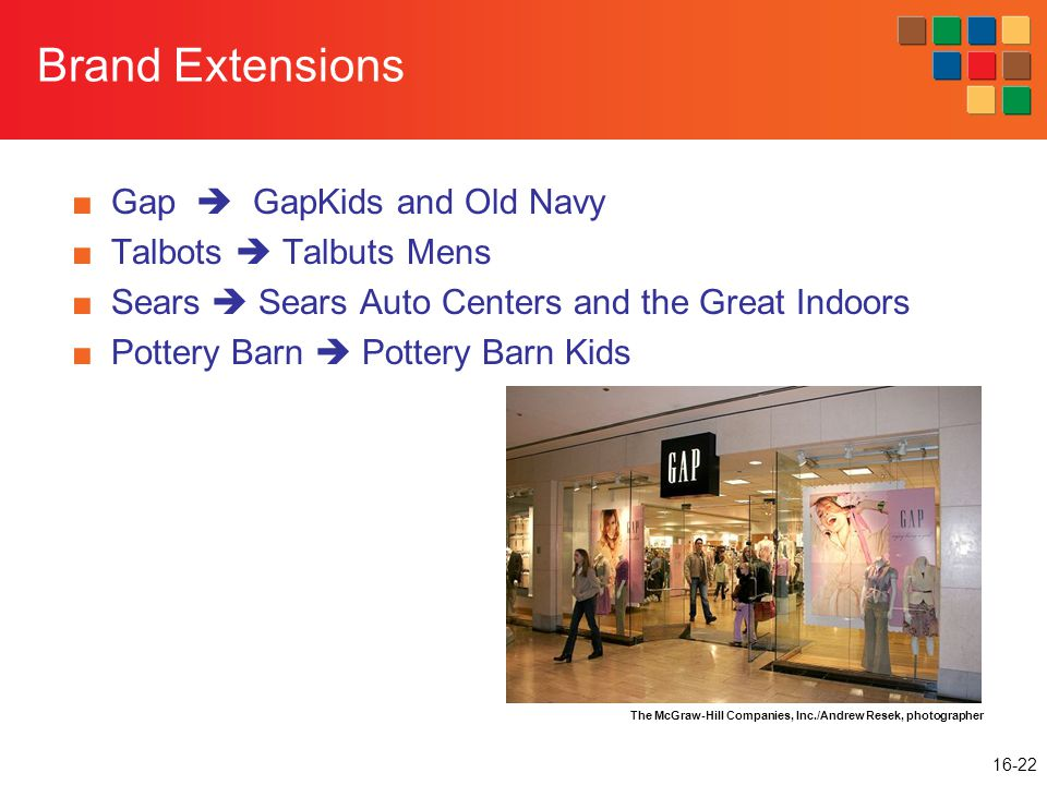 16-22 Brand Extensions ■Gap  GapKids and Old Navy ■Talbots  Talbuts Mens ■Sears  Sears Auto Centers and the Great Indoors ■Pottery Barn  Pottery Barn Kids The McGraw-Hill Companies, Inc./Andrew Resek, photographer