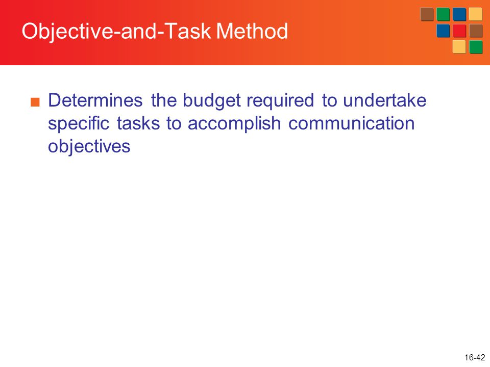 16-42 Objective-and-Task Method ■Determines the budget required to undertake specific tasks to accomplish communication objectives