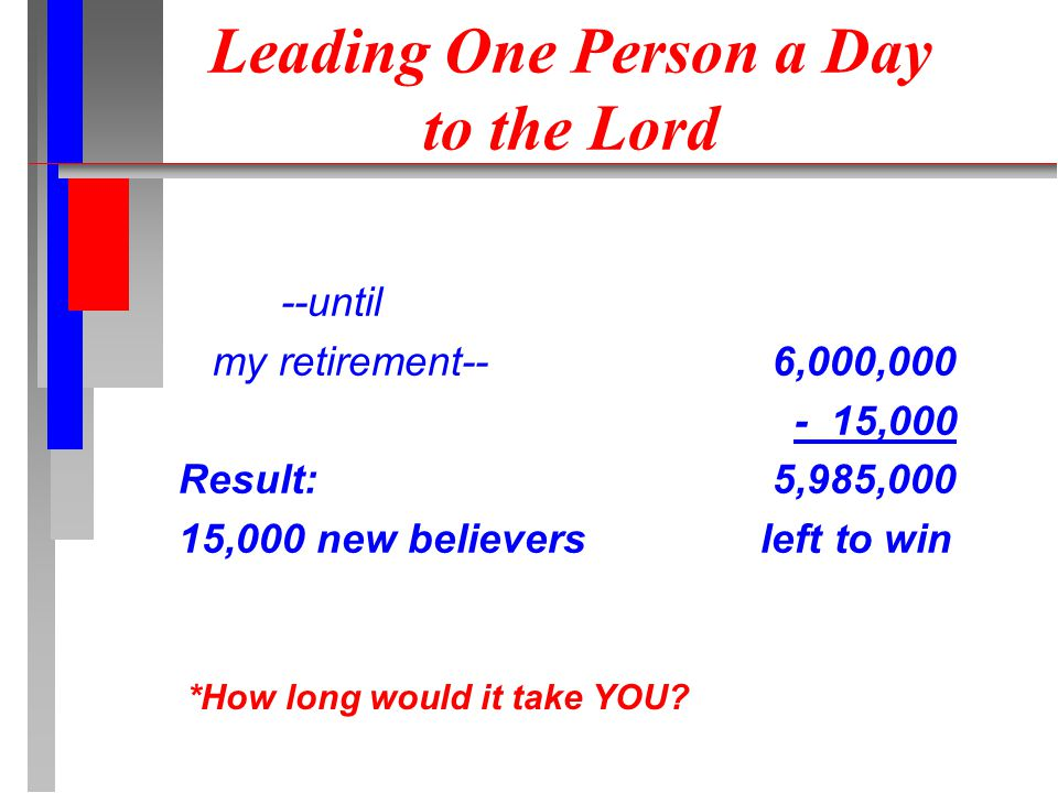 Leading One Person a Day to the Lord --until my retirement-- Result: 15,000 new believers 6,000,000 - 15,000 5,985,000 left to win *How long would it