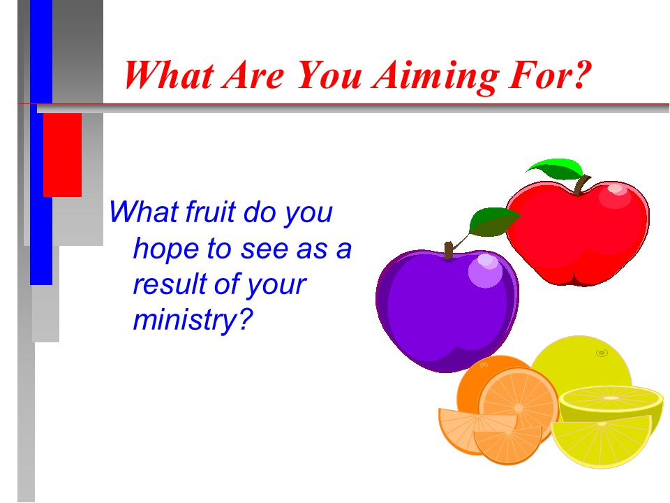 What Are You Aiming For? What fruit do you hope to see as a result of your ministry?