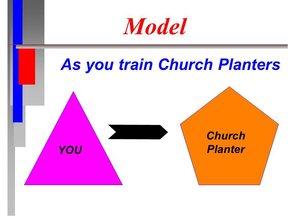 Model As you train Church Planters YOU Church Planter