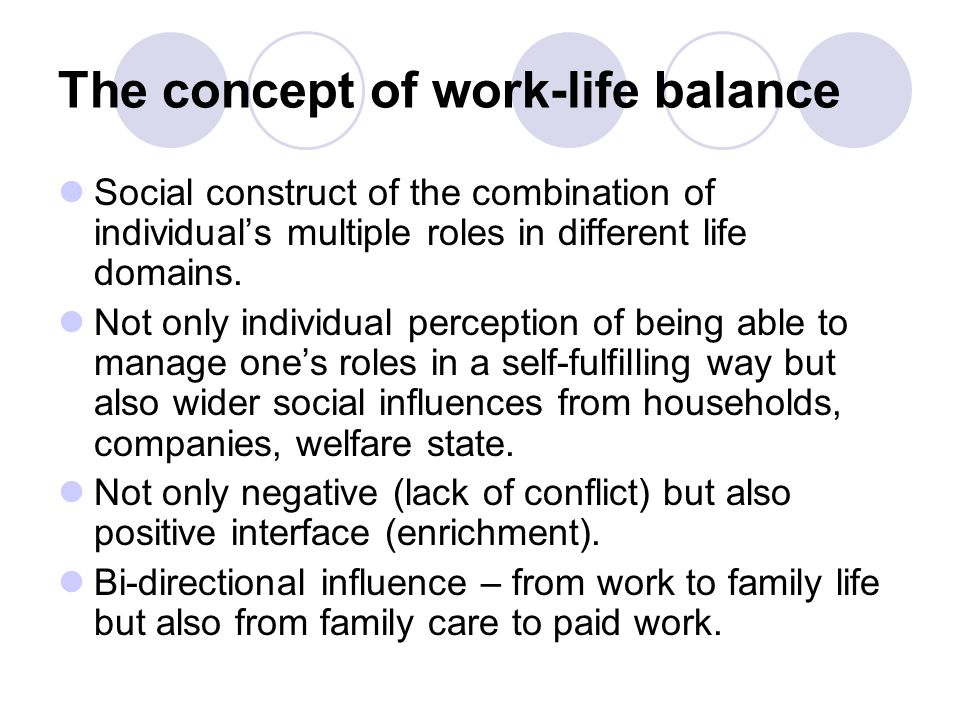 The concept of work-life balance Social construct of the combination of individual's multiple roles in different life domains.