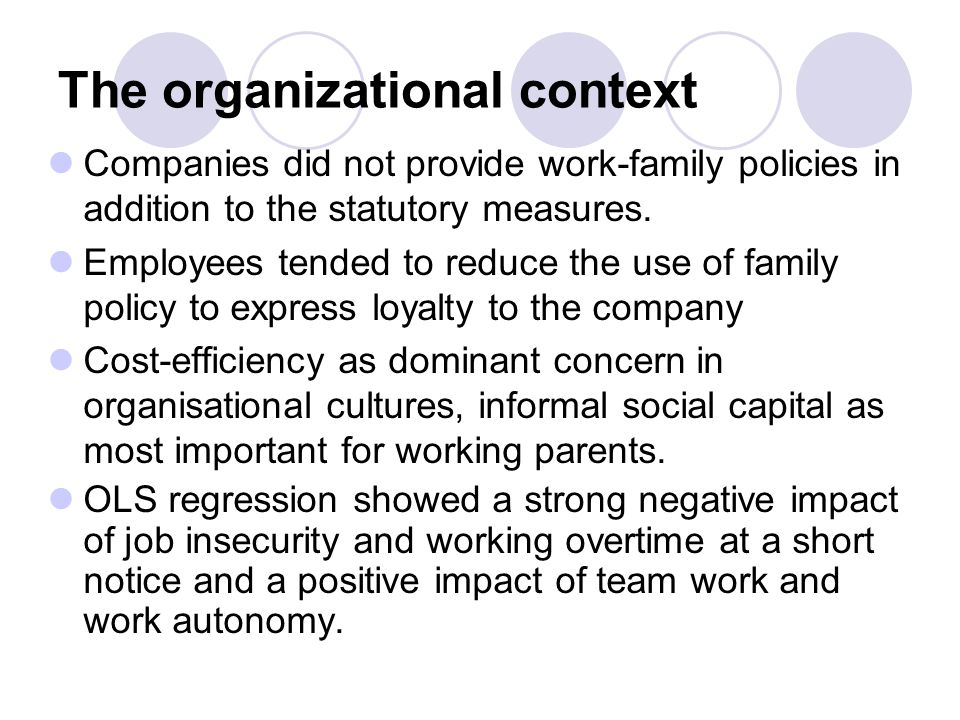 The organizational context Companies did not provide work-family policies in addition to the statutory measures.