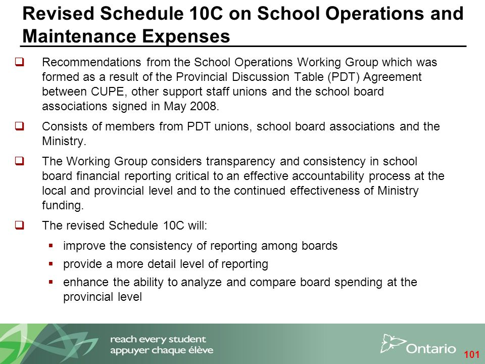 Revised Schedule 10C on School Operations and Maintenance Expenses  Recommendations from the School Operations Working Group which was formed as a re