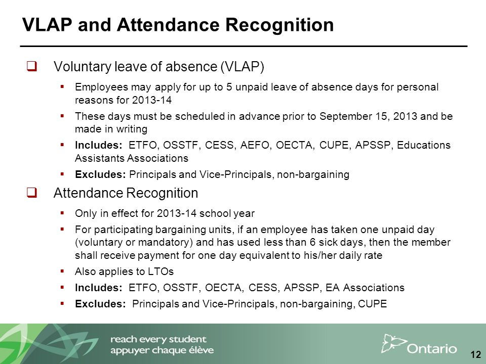 VLAP and Attendance Recognition  Voluntary leave of absence (VLAP)  Employees may apply for up to 5 unpaid leave of absence days for personal reasons for 2013-14  These days must be scheduled in advance prior to September 15, 2013 and be made in writing  Includes: ETFO, OSSTF, CESS, AEFO, OECTA, CUPE, APSSP, Educations Assistants Associations  Excludes: Principals and Vice-Principals, non-bargaining  Attendance Recognition  Only in effect for 2013-14 school year  For participating bargaining units, if an employee has taken one unpaid day (voluntary or mandatory) and has used less than 6 sick days, then the member shall receive payment for one day equivalent to his/her daily rate  Also applies to LTOs  Includes: ETFO, OSSTF, OECTA, CESS, APSSP, EA Associations  Excludes: Principals and Vice-Principals, non-bargaining, CUPE 12