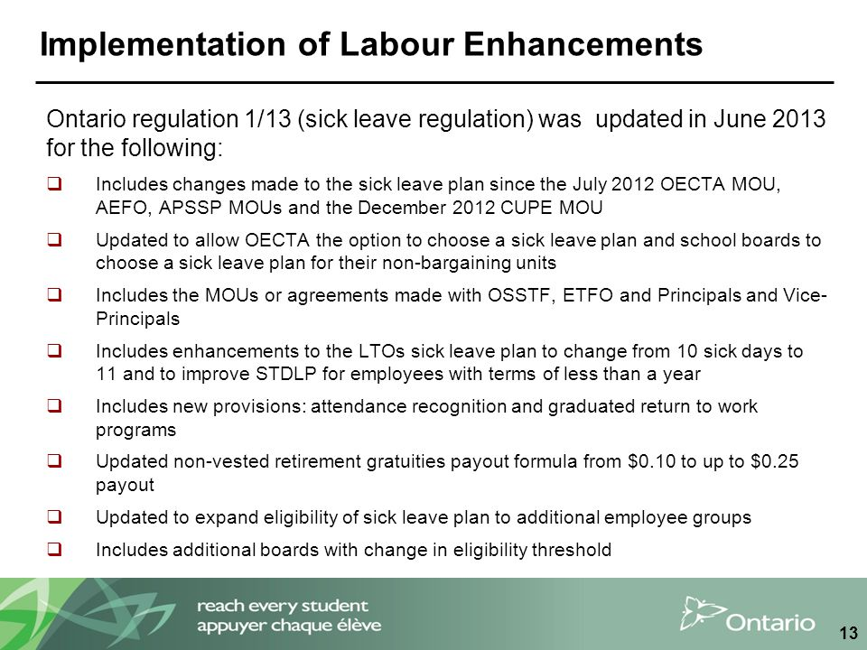 Implementation of Labour Enhancements Ontario regulation 1/13 (sick leave regulation) was updated in June 2013 for the following:  Includes changes m