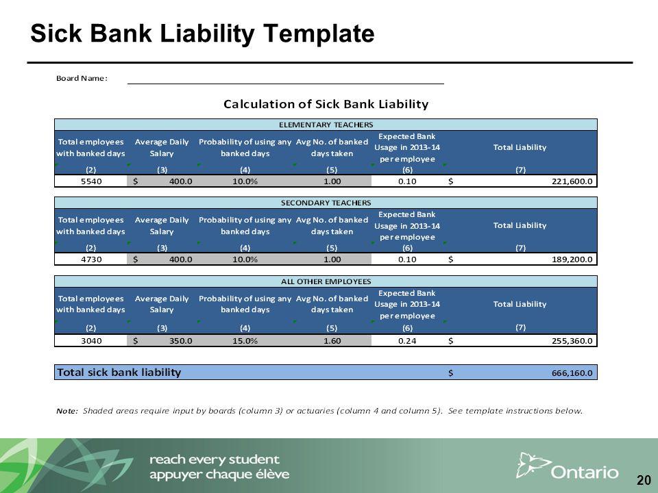 Sick Bank Liability Template 20