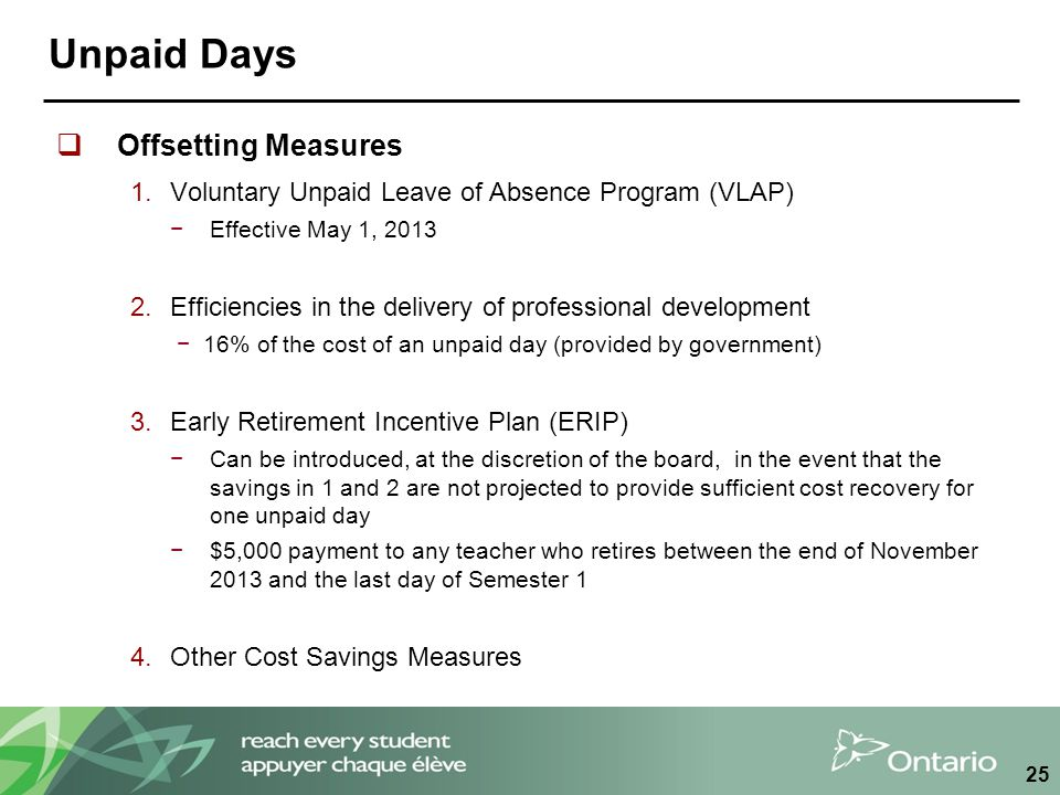 Unpaid Days  Offsetting Measures 1.Voluntary Unpaid Leave of Absence Program (VLAP) −Effective May 1, 2013 2.Efficiencies in the delivery of professional development −16% of the cost of an unpaid day (provided by government) 3.Early Retirement Incentive Plan (ERIP) −Can be introduced, at the discretion of the board, in the event that the savings in 1 and 2 are not projected to provide sufficient cost recovery for one unpaid day −$5,000 payment to any teacher who retires between the end of November 2013 and the last day of Semester 1 4.Other Cost Savings Measures 25