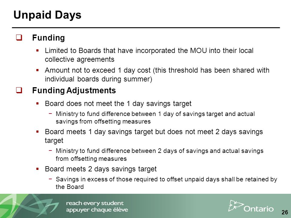 Unpaid Days  Funding  Limited to Boards that have incorporated the MOU into their local collective agreements  Amount not to exceed 1 day cost (thi