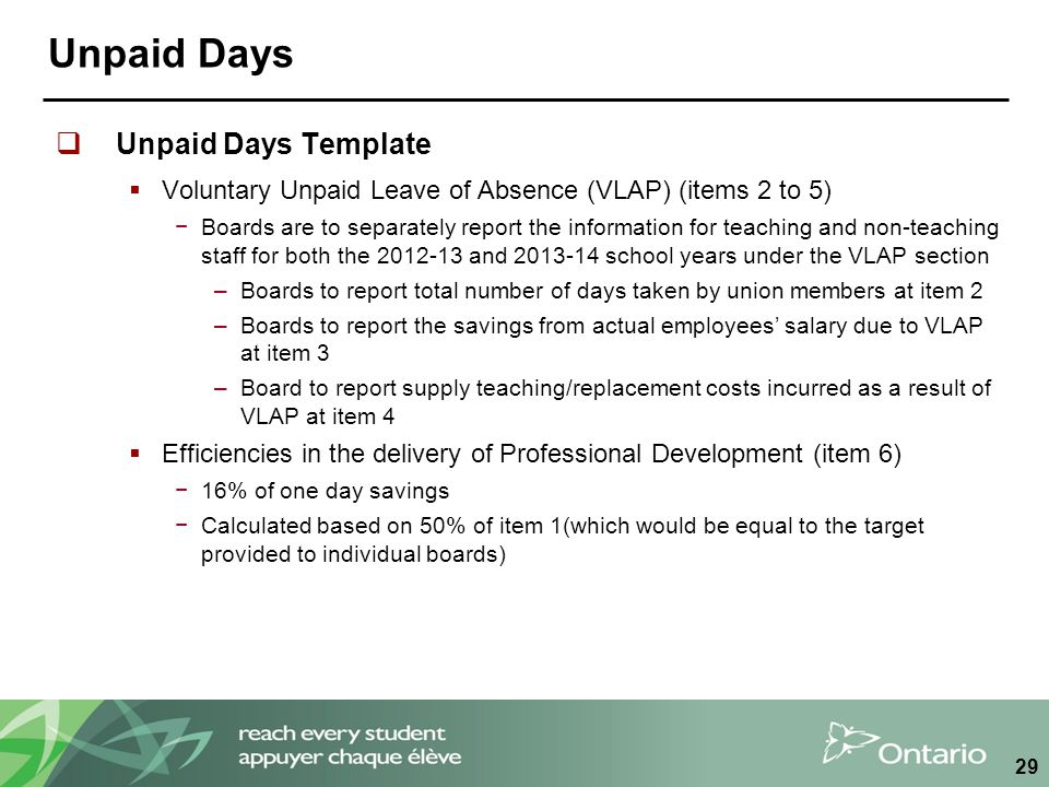Unpaid Days  Unpaid Days Template  Voluntary Unpaid Leave of Absence (VLAP) (items 2 to 5) −Boards are to separately report the information for teaching and non-teaching staff for both the 2012-13 and 2013-14 school years under the VLAP section –Boards to report total number of days taken by union members at item 2 –Boards to report the savings from actual employees' salary due to VLAP at item 3 –Board to report supply teaching/replacement costs incurred as a result of VLAP at item 4  Efficiencies in the delivery of Professional Development (item 6) −16% of one day savings −Calculated based on 50% of item 1(which would be equal to the target provided to individual boards) 29