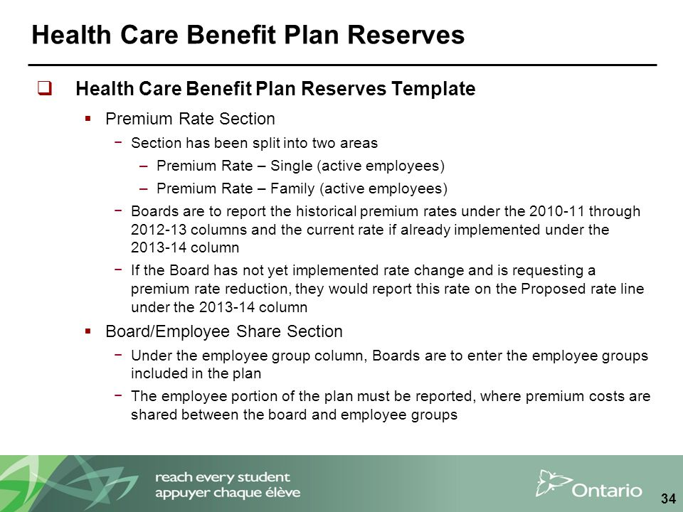 Health Care Benefit Plan Reserves  Health Care Benefit Plan Reserves Template  Premium Rate Section −Section has been split into two areas –Premium