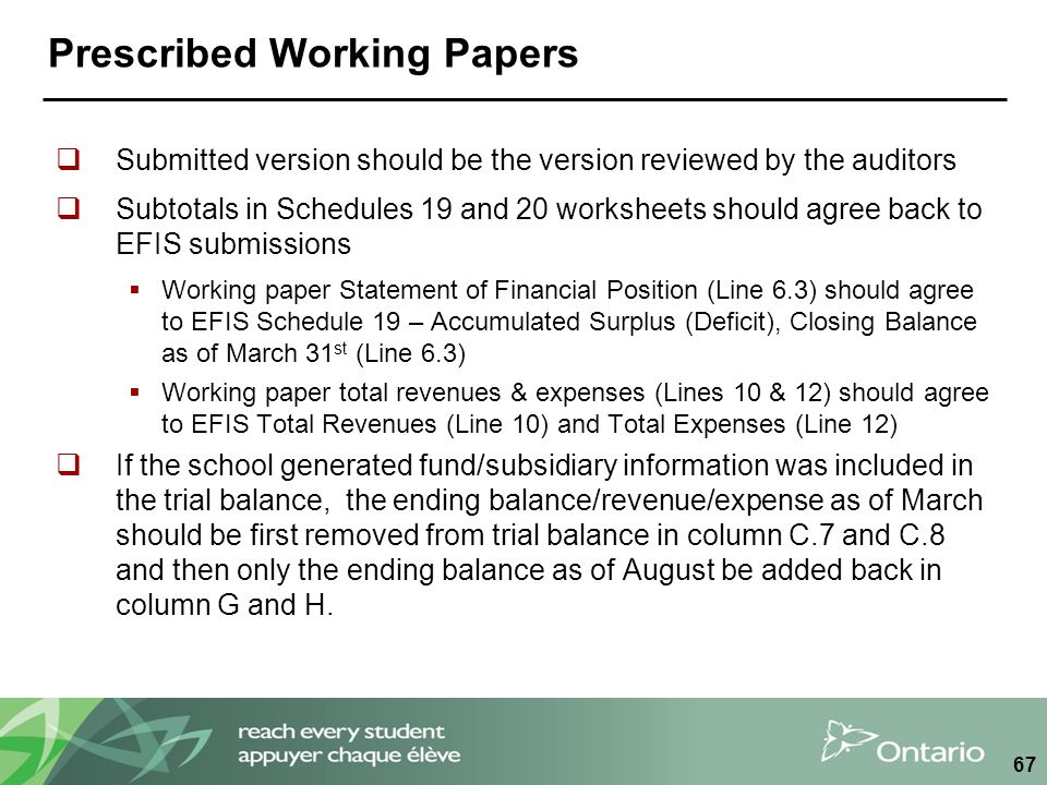 Prescribed Working Papers  Submitted version should be the version reviewed by the auditors  Subtotals in Schedules 19 and 20 worksheets should agree back to EFIS submissions  Working paper Statement of Financial Position (Line 6.3) should agree to EFIS Schedule 19 – Accumulated Surplus (Deficit), Closing Balance as of March 31 st (Line 6.3)  Working paper total revenues & expenses (Lines 10 & 12) should agree to EFIS Total Revenues (Line 10) and Total Expenses (Line 12)  If the school generated fund/subsidiary information was included in the trial balance, the ending balance/revenue/expense as of March should be first removed from trial balance in column C.7 and C.8 and then only the ending balance as of August be added back in column G and H.
