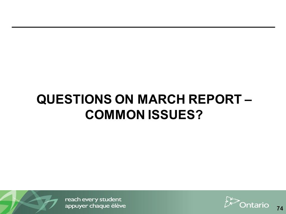 QUESTIONS ON MARCH REPORT – COMMON ISSUES? 74