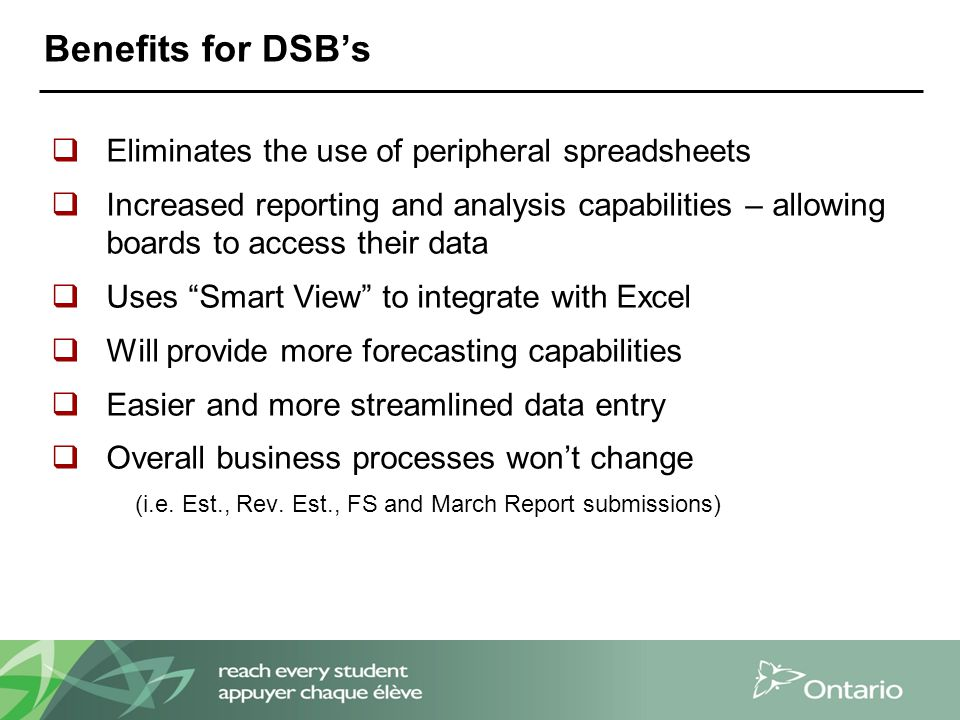 Benefits for DSB's  Eliminates the use of peripheral spreadsheets  Increased reporting and analysis capabilities – allowing boards to access their data  Uses Smart View to integrate with Excel  Will provide more forecasting capabilities  Easier and more streamlined data entry  Overall business processes won't change (i.e.