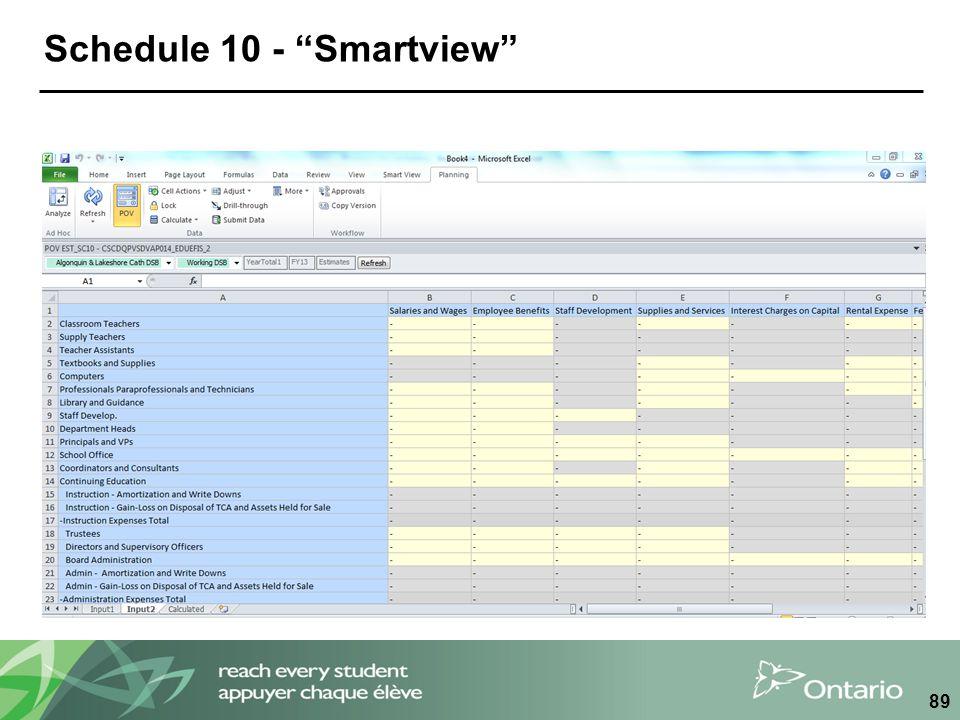 """Schedule 10 - """"Smartview"""" 89"""