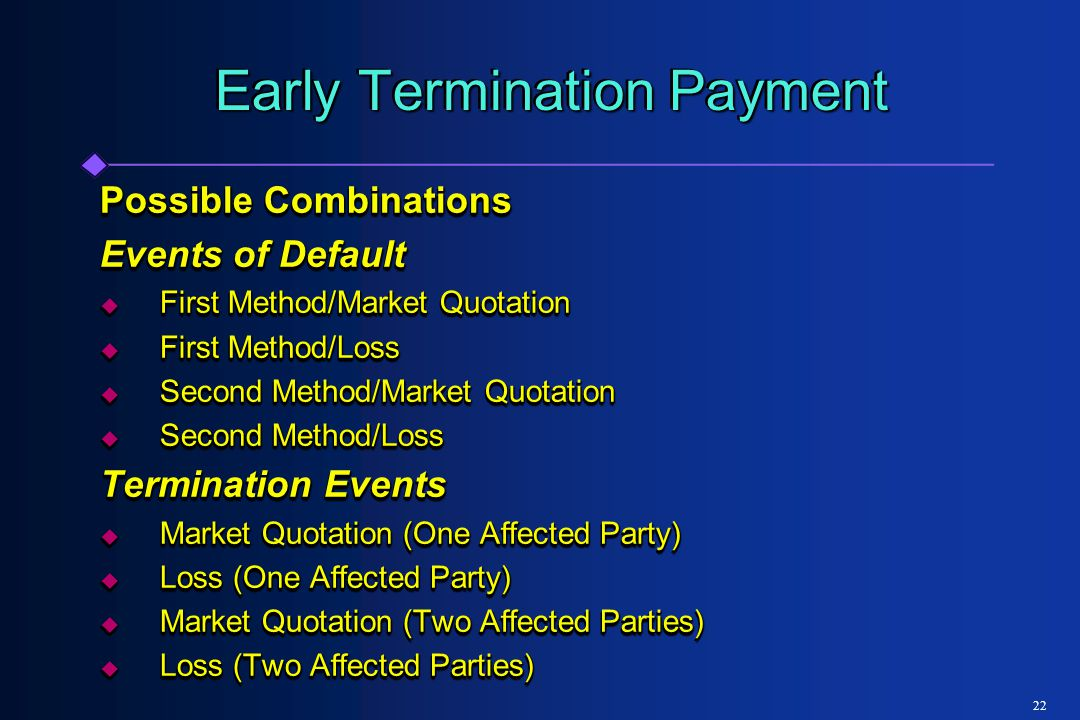 22 Early Termination Payment Possible Combinations Events of Default  First Method/Market Quotation  First Method/Loss  Second Method/Market Quotation  Second Method/Loss Termination Events  Market Quotation (One Affected Party)  Loss (One Affected Party)  Market Quotation (Two Affected Parties)  Loss (Two Affected Parties) Possible Combinations Events of Default  First Method/Market Quotation  First Method/Loss  Second Method/Market Quotation  Second Method/Loss Termination Events  Market Quotation (One Affected Party)  Loss (One Affected Party)  Market Quotation (Two Affected Parties)  Loss (Two Affected Parties)