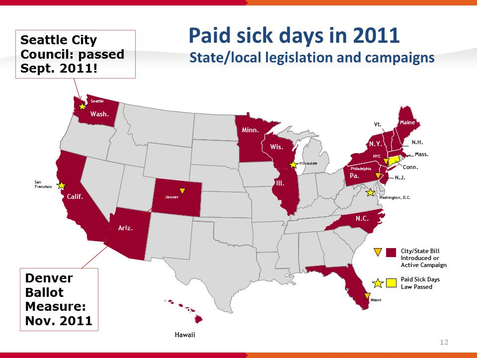 Paid sick days in 2011 State/local legislation and campaigns Hawaii Denver Ballot Measure: Nov.