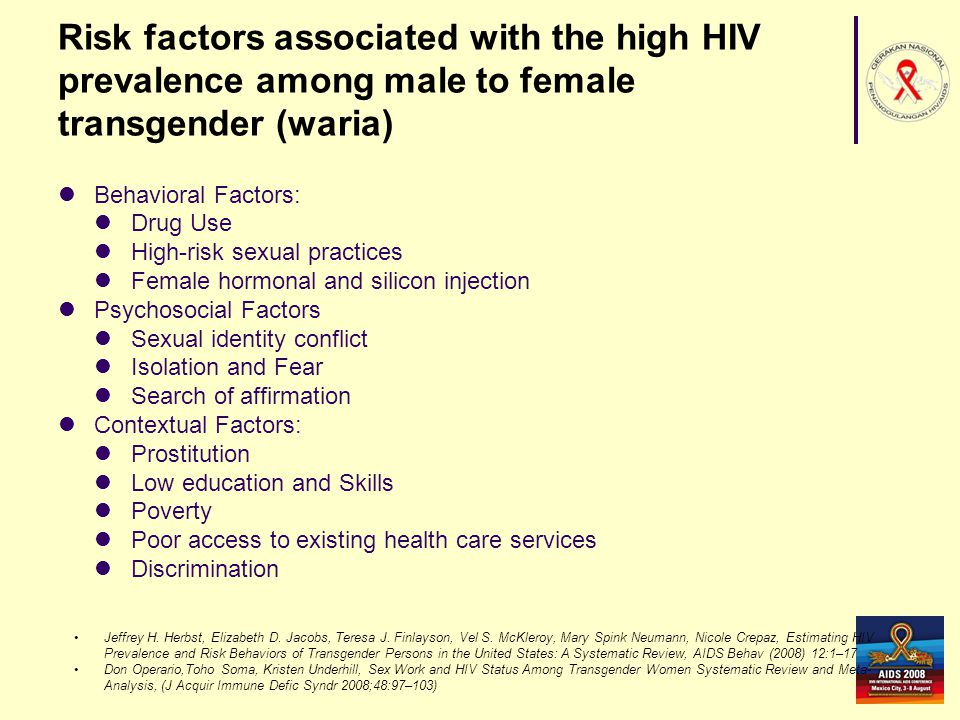 Problem Little is known about the association between behavioral, psychosocial & contextual factors and HIV prevalence and risk behaviors among waria in Indonesia.