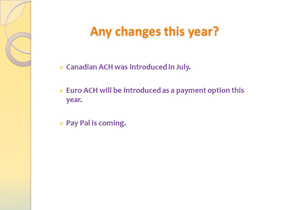 Any changes this year.  Canadian ACH was introduced in July.