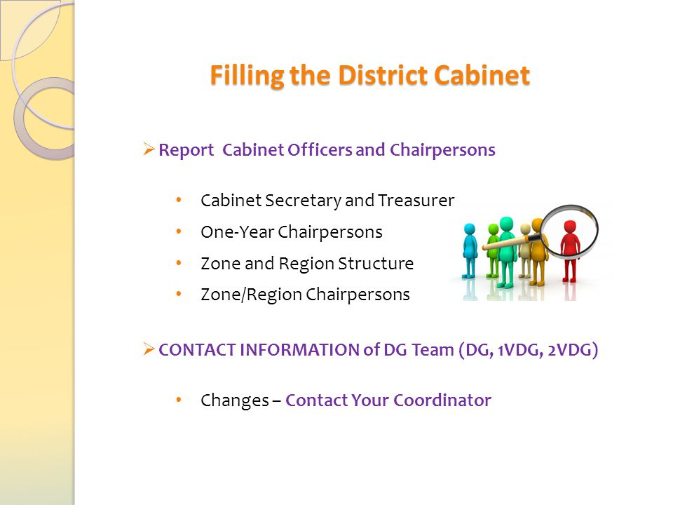  Report Cabinet Officers and Chairpersons Cabinet Secretary and Treasurer One-Year Chairpersons Zone and Region Structure Zone/Region Chairpersons  CONTACT INFORMATION of DG Team (DG, 1VDG, 2VDG) Changes – Contact Your Coordinator Filling the District Cabinet